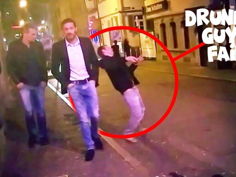 Drunk Guy Struggles to Keep His Feet in Stuttgart