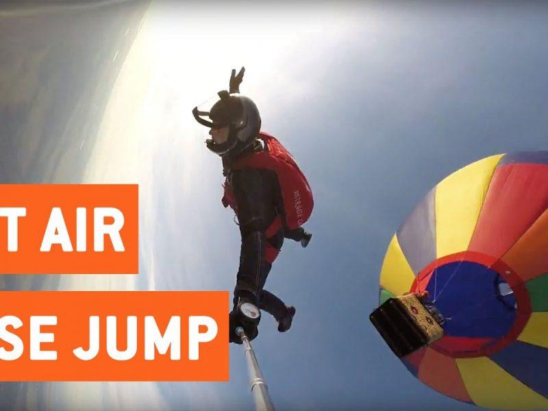 Hot Air Balloon BASE Jump   High Altitude Selfie