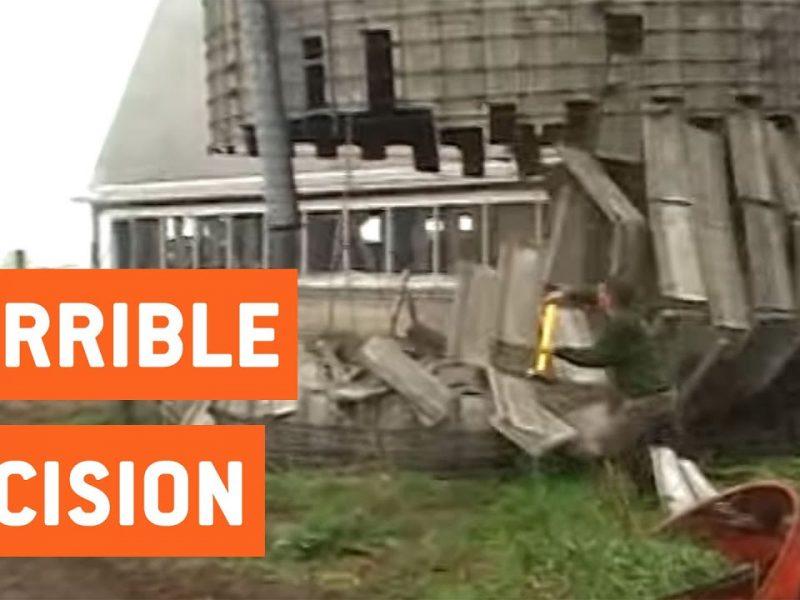 Man Knocks Down Silo With Sledgehammer   Demolition