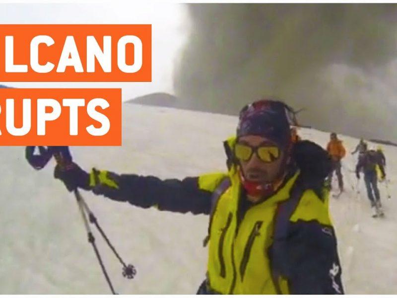 Skiiers Escape Volcano Eruption