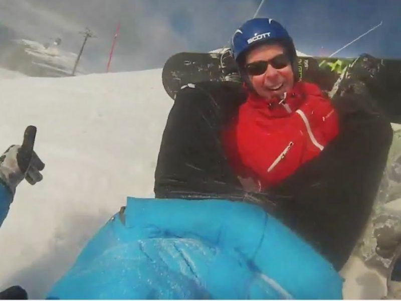 Snowboarder Leg Lock | Skier Gets Dragged Downhill