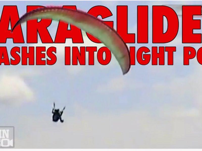 Paraglider Crashes Into Light Pole