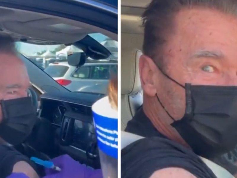 Arnold Schwarzenegger Gets COVID-19 Vaccine at Dodger Stadium