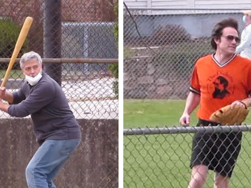 George Clooney and Ben Affleck Play Softball on 'The Tender Bar' Movie Set